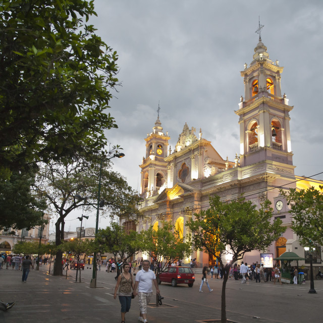 """Iglesia Catedral, the main cathedral on 9 Julio Square, Salta City,..."" stock image"