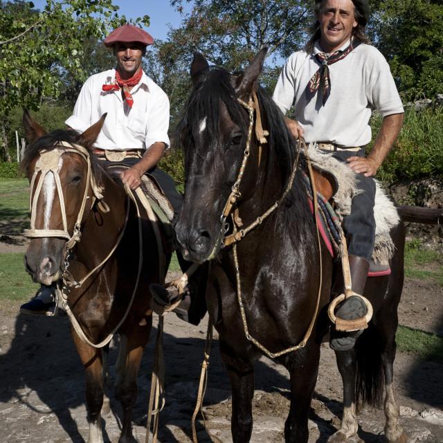 """""""Gauchos at Estancia Los Potreros, Cordoba Province, Argentina, South America"""" stock image"""