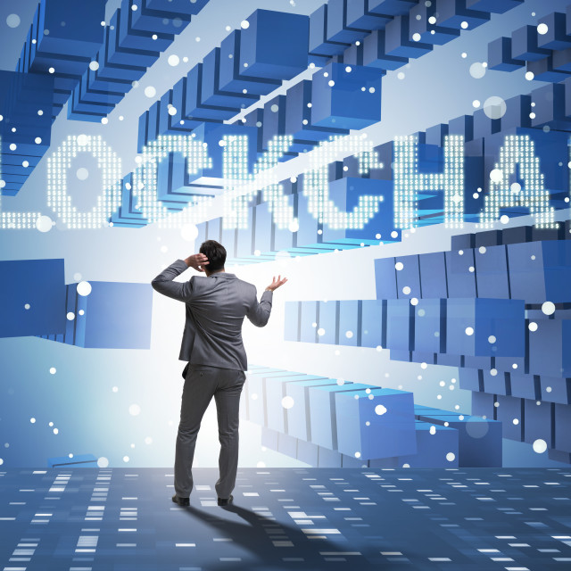 """""""The businessman in blockchain cryptocurrency concept"""" stock image"""