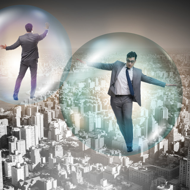 """""""The businessman flying inside the bubble"""" stock image"""