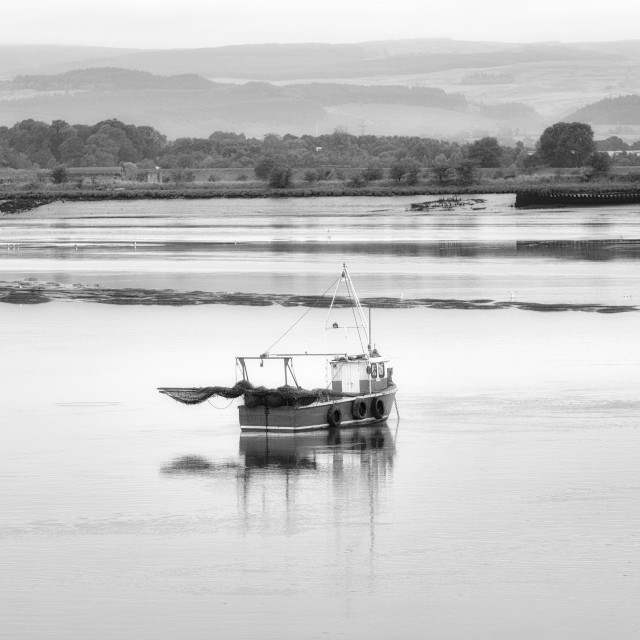 """""""Fishing boat on the river Forth"""" stock image"""