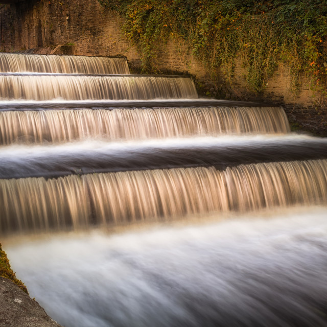 """Lower Lliedi reservoir spillway"" stock image"