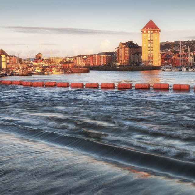 """Swansea marina and Tawe barrage"" stock image"