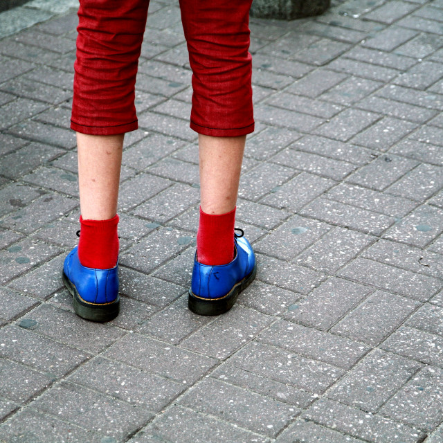 """""""Blue Shoes Red Socks"""" stock image"""