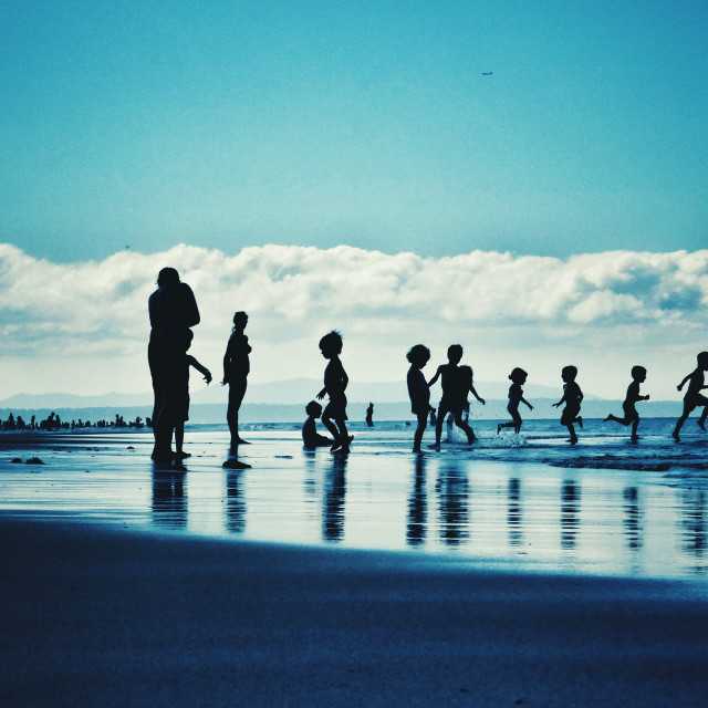 """Beach morning people and kids at seaside"" stock image"