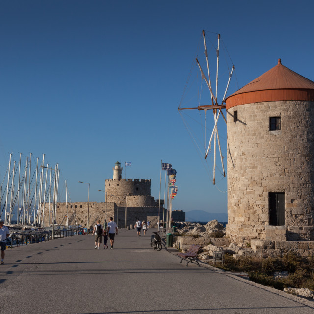 """The windmills in the port of Rhodes in Greece"" stock image"