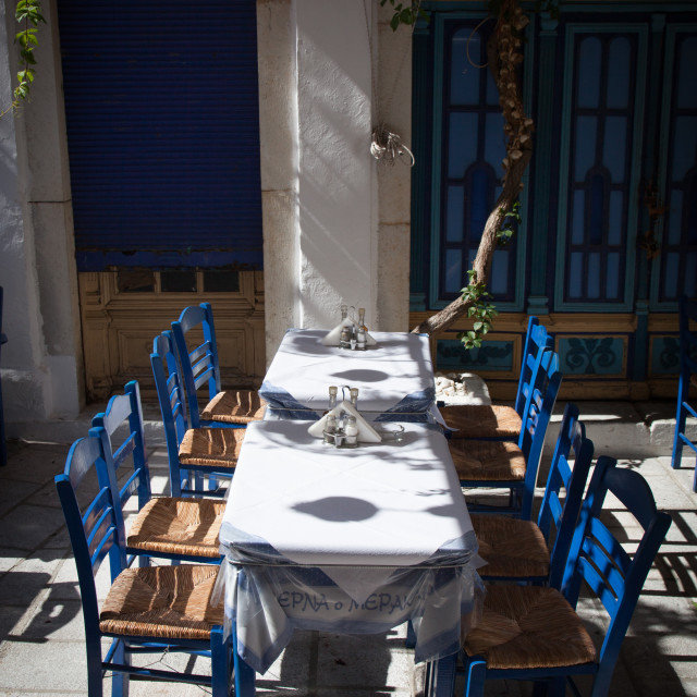 """A cafe in the port of Symi on Symi island near Rhodes in Greece"" stock image"