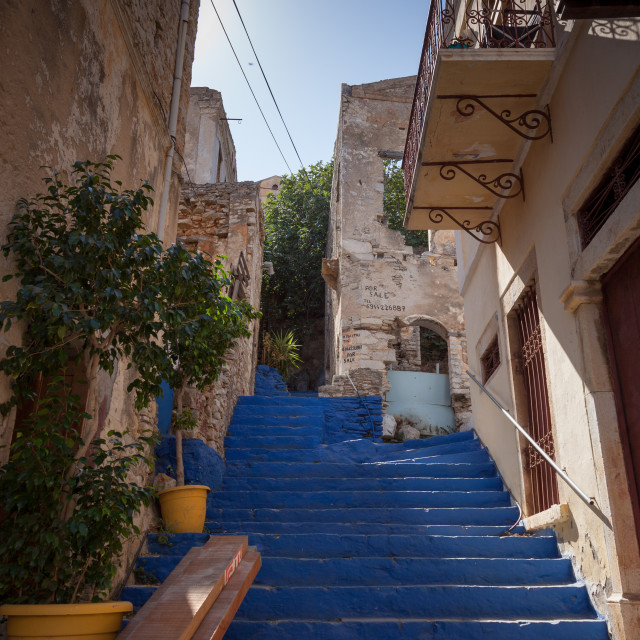 """Steps in the port of Symi on Symi island near Rhodes in Greece"" stock image"