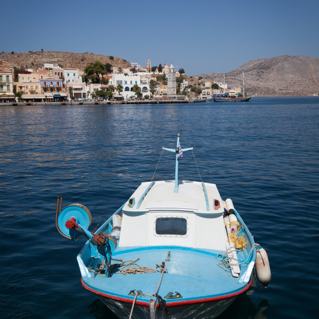 """Boats moored in the port of Symi on Symi island near Rhodes in Greece"" stock image"