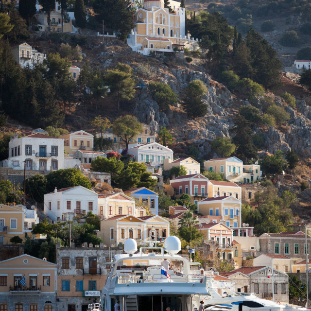 """Luxury yachts in the port of Symi on Symi island near Rhodes in Greece"" stock image"