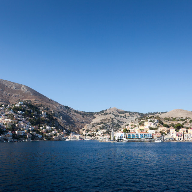 """The port of Symi on Symi island near Rhodes in Greece"" stock image"