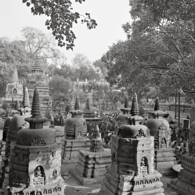 """Votive stupas at Mahabodhi Temple, India"" stock image"
