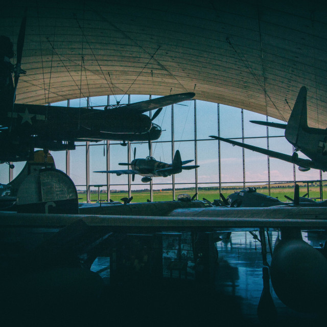 """Vintage planes in a Hanger"" stock image"