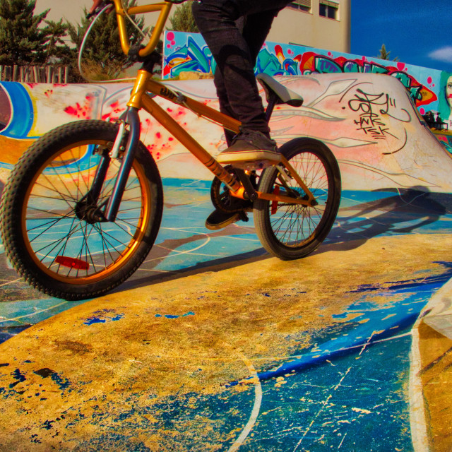 """Riding a bike in the skate park"" stock image"