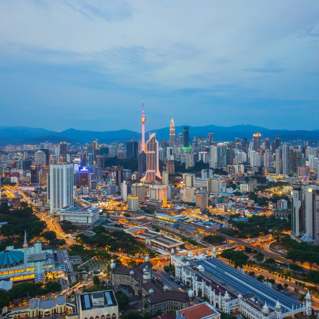"""Aerial view of beautiful sunset blue hour at Kuala Lumpur city s"" stock image"