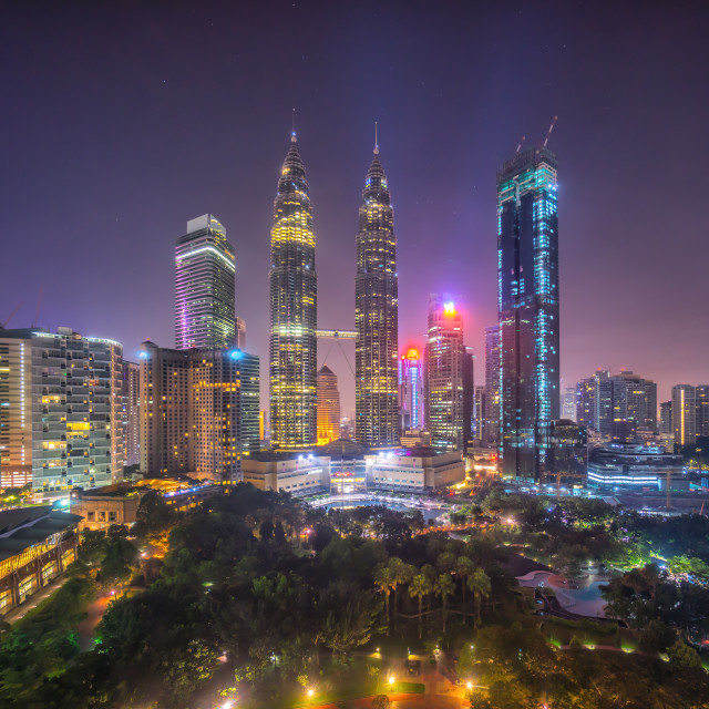 """Aerial view of beautiful sunrise blue hour at Kuala Lumpur city skyline."" stock image"