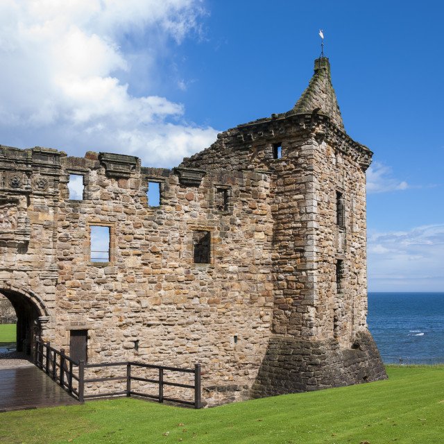 """""""Detail of the St. Andrews Castle in the Royal Burgh of St Andrews in Fife, Scotland"""" stock image"""