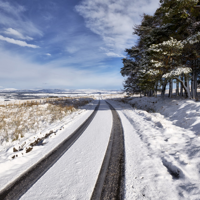 """Winter drive in the Ochill Hills"" stock image"
