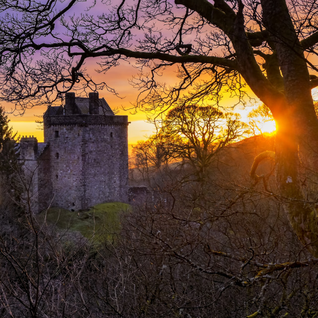 """Sunset over Castle Campbell"" stock image"