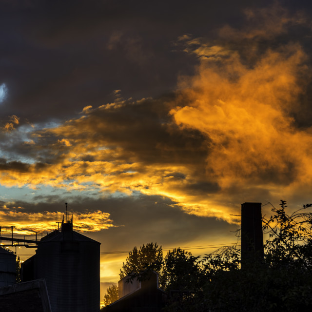 """Sunset over the factory"" stock image"