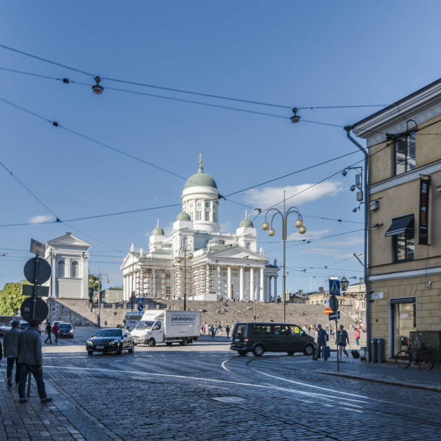 """""""Helsinki Cathedral from road"""" stock image"""
