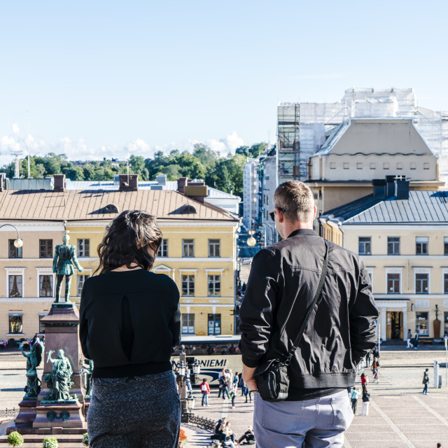 """""""People on steps of Helsinki Cathedral"""" stock image"""