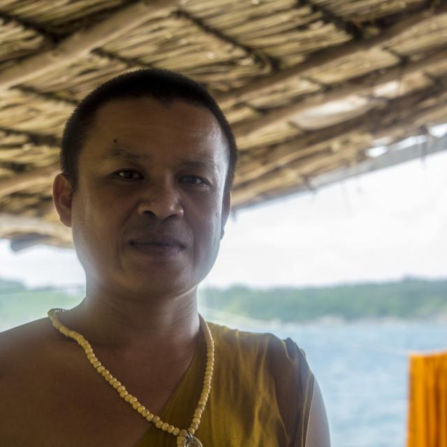 """""""Monk On Buddha Island Phuket"""" stock image"""