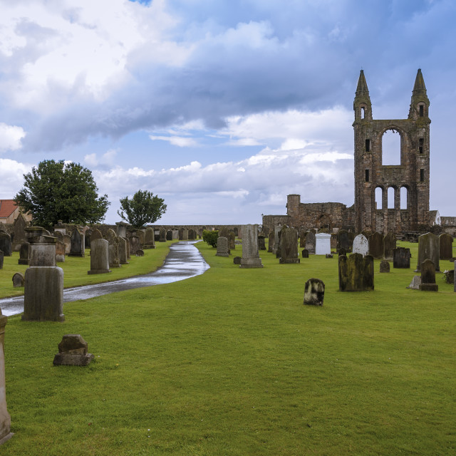 """The ruins of St Andrews Cathedral in St Andrews, Fife, Scotland; Concept for travel in Scotland"" stock image"