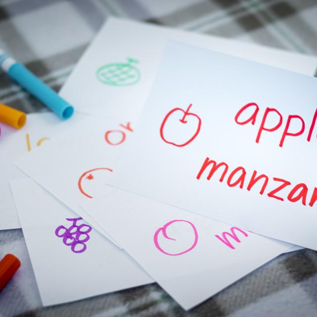 """Spanish; Learning New Language with Fruits Name Flash Cards"" stock image"