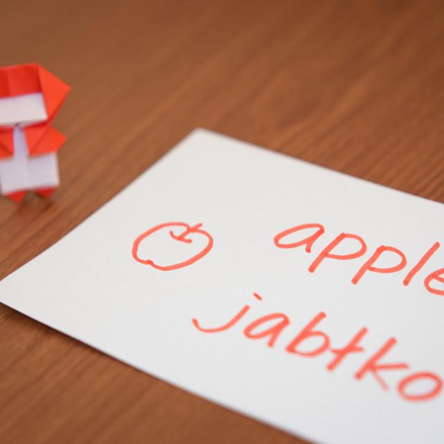 """""""Polish; Learning New Language with Fruits Name Flash Cards"""" stock image"""