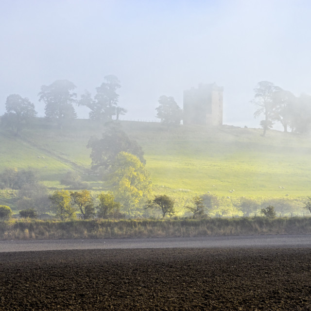 """Foggy Morning at Clackmannan Tower"" stock image"