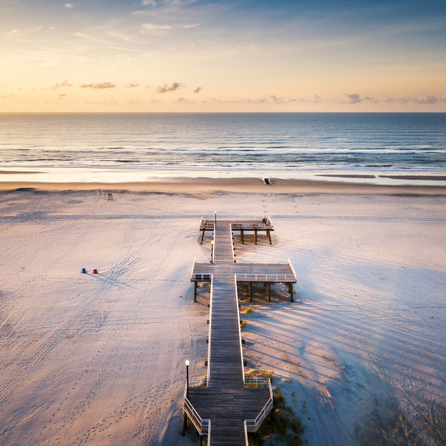 """Sunrise over the ocean aerial view"" stock image"