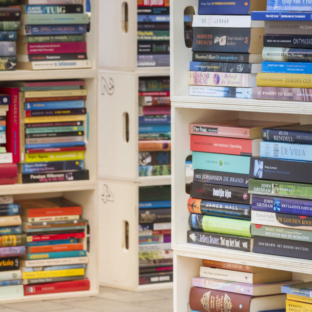 """""""Book market books in boxes"""" stock image"""