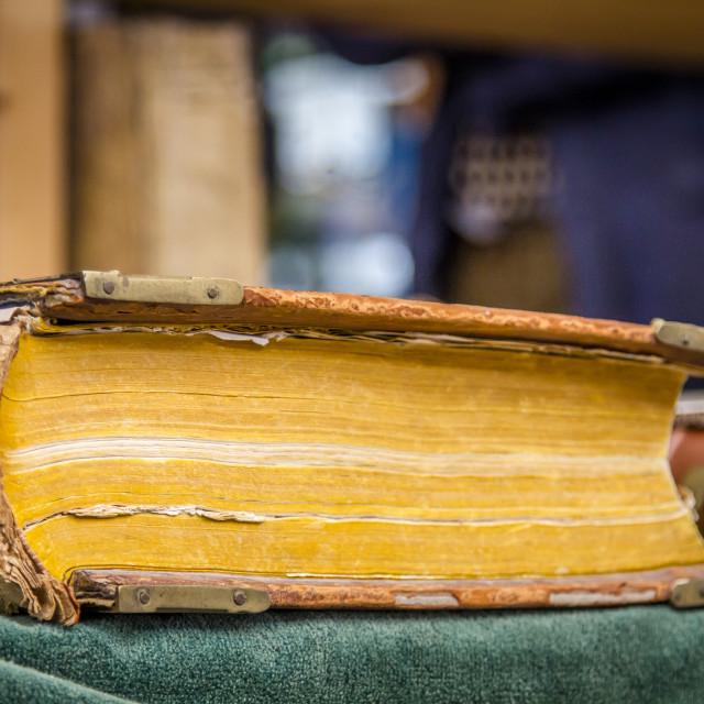 """Ancient hardback book"" stock image"