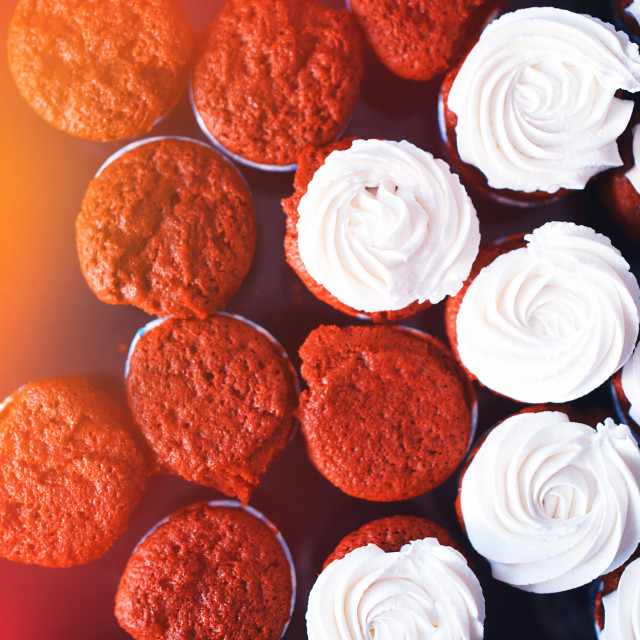 """""""Fresh cupcakes from above object background"""" stock image"""