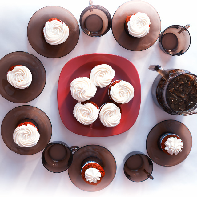 """""""Decorated table with fresh cupcakes background"""" stock image"""