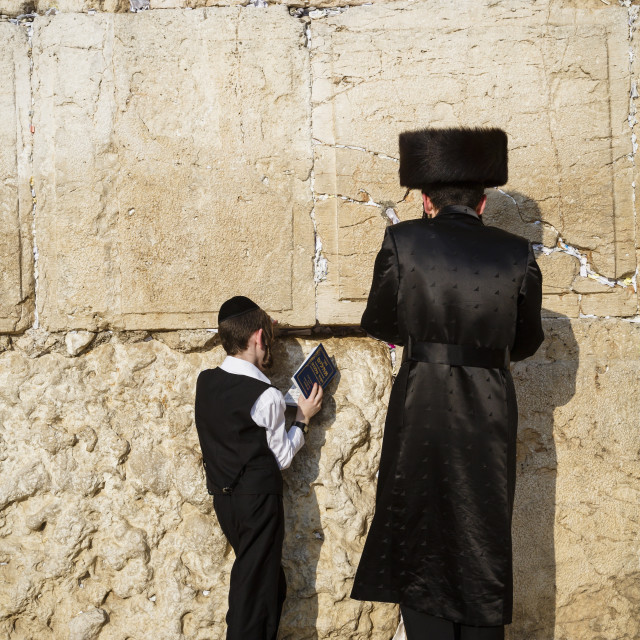"""""""Jewish people praying at the wailing wall known also as the western wall ,..."""" stock image"""