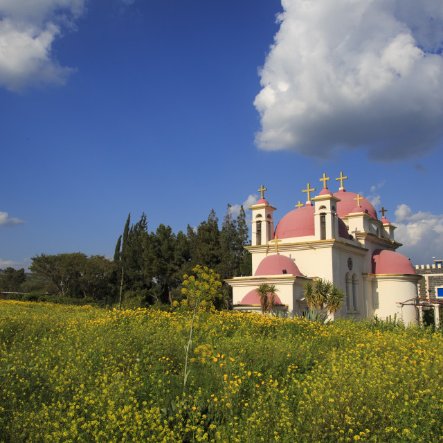 """""""The Greek Orthodox Church of the Twelve Apostles in Capernaum by the Sea of..."""" stock image"""