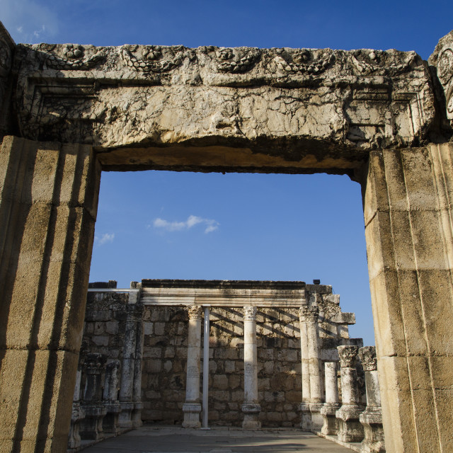 """""""Ruins of the old synagogue in Capernaum by the Sea of Galilee, Israel."""" stock image"""