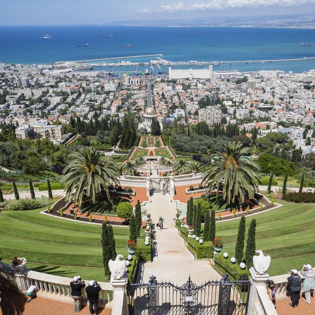 """View over the Bahai Gardens, Haifa, Israel."" stock image"