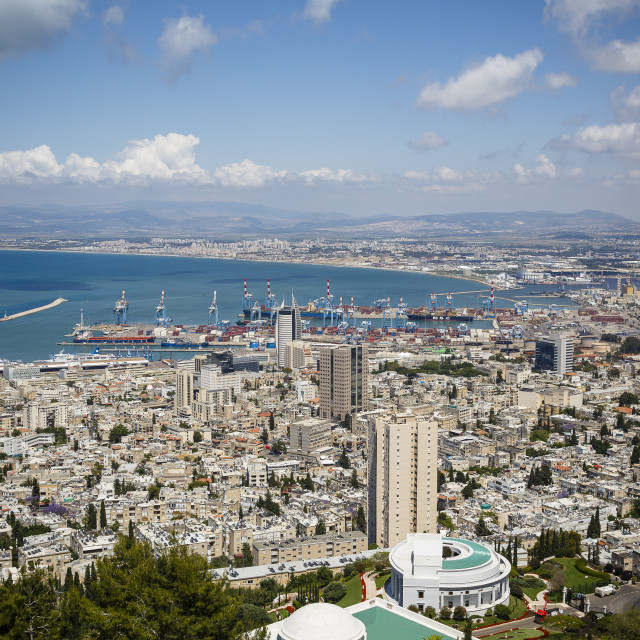 """""""View over the city and port, Haifa, Israel."""" stock image"""