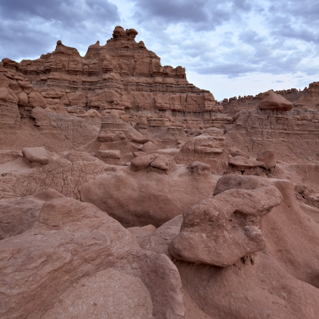 """Red rock badlands at dusk, Goblin Valley State Park, Utah, United States of..."" stock image"
