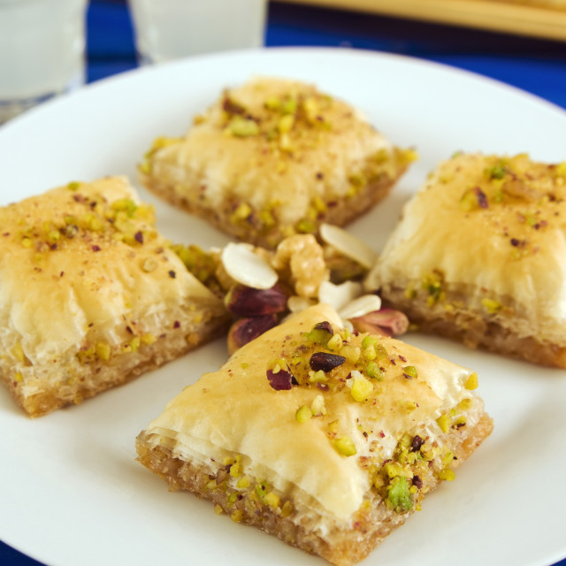 """Baklava, filo pastry with honey and pistachios, Greece, Europe"" stock image"