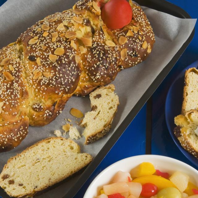 """Tsoureki (Tsourekia), Greek Easter bread, Greece, Europe"" stock image"