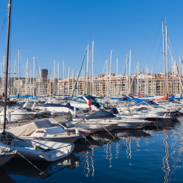 """View across the Vieux Port, Marseille, Bouches-de-Rhone,..."" stock image"