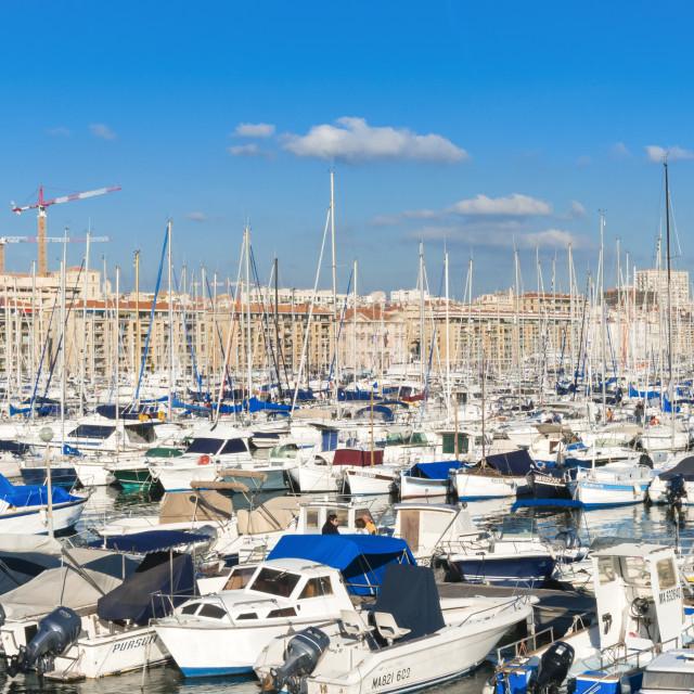 """""""View across the Vieux Port, Marseille, Bouches-de-Rhone,..."""" stock image"""