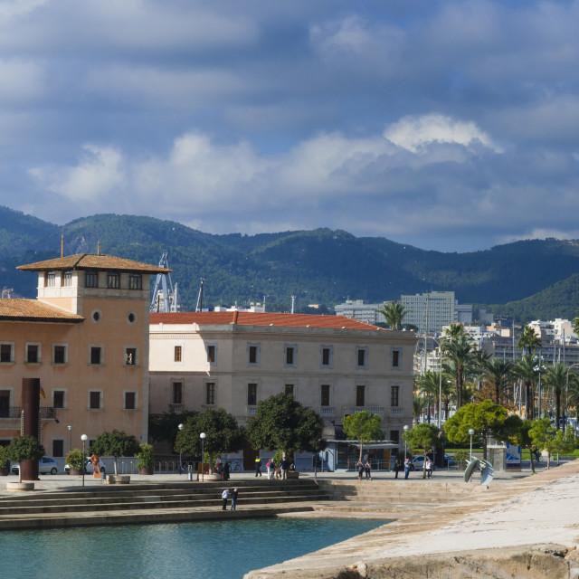 """City ramparts and Parc de la Mar, Palma de Mallorca, Majorca, Balearic..."" stock image"