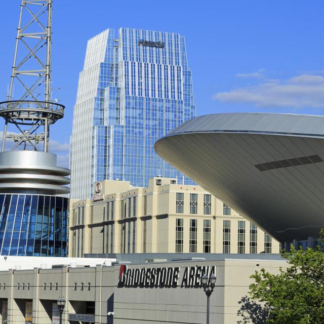 """Bridgestone Arena on Broadway Street, Nashville, Tennessee, United States of..."" stock image"