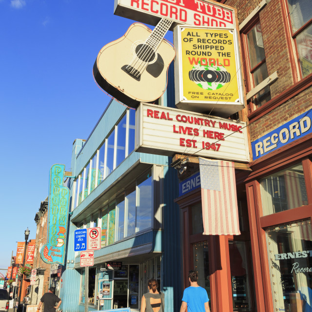 """""""Music store on Broadway Street, Nashville, Tennessee, United States of..."""" stock image"""