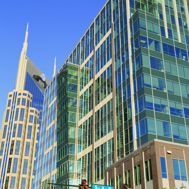 """SunTrust Plaza and 333 Commerce Tower, Nashville, Tennessee, United States of..."" stock image"